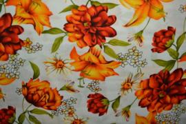 Viscose - Orange flower white