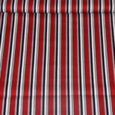 Katoen - Sporty stripes red