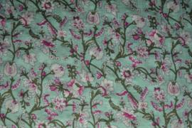 Katoen/viscose - flowers mint