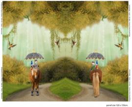 Paneelstof - paard in de regen paneel 120x150cm