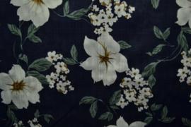 Katoen/viscose - flowers marine