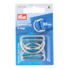 Prym D-ringen mat zilver 30mm