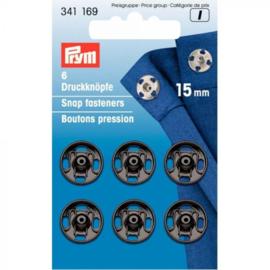 Prym aannaaidrukknopen 15mm zwart