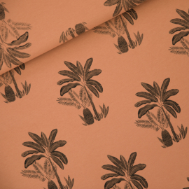French terry - Palms Trees Pecan Brown