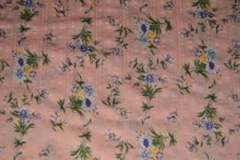 Katoen/viscose - flowers pink