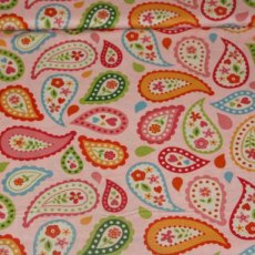 Katoen - Sunshine paisley pink