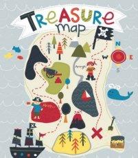 Paneelstof - treasure map gray 90x110 cm