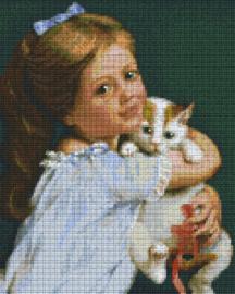 Pixelhobby set - meisje met poes - 9 basisplaten