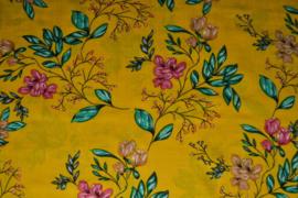 Katoen/viscose - flowers yellow
