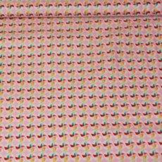 Katoen - Girl pinwheels pink