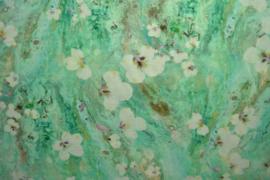 Linnen/viscose - flowers green