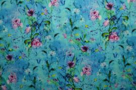 Linnen/viscose - flowers blue