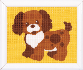 Borduurset - bruin hondje