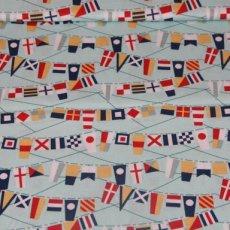 Katoen - Fly aweigh flags blue