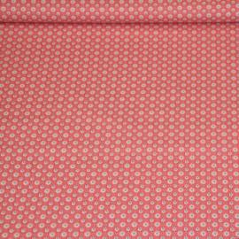 Katoen - Ornaments bloemen pink