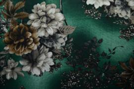 Viscose - Flowers green