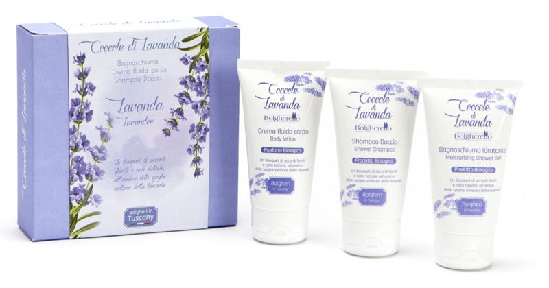 Cadeau doosje lavendel shampoo, douche gel, body lotion