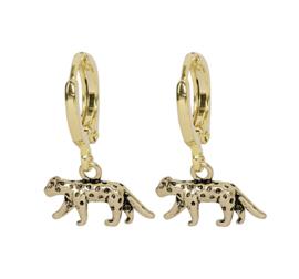 Oorbellen lucky leopard - goud, zilver