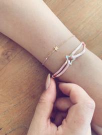 Armbandje shine like a star - goud, zilver met roze