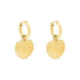 Oorbellen flora heart - goud, zilver
