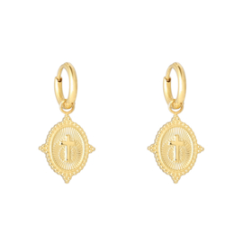 Oorbellen earrings neo cross - goud, zilver