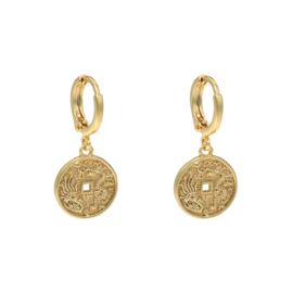 Oorbellen oriental coin - goud, zilver