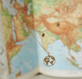 Ketting around the world - goud, zilver