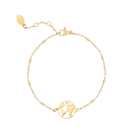 Armbandje beautiful world - goud, zilver