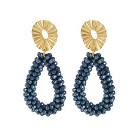 Oorbellen Crystal hoops - blauw