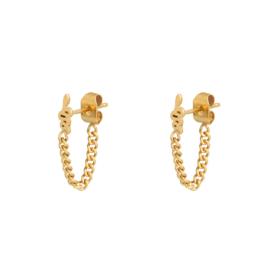 Oobellen snake and Chain -  goud, zilver