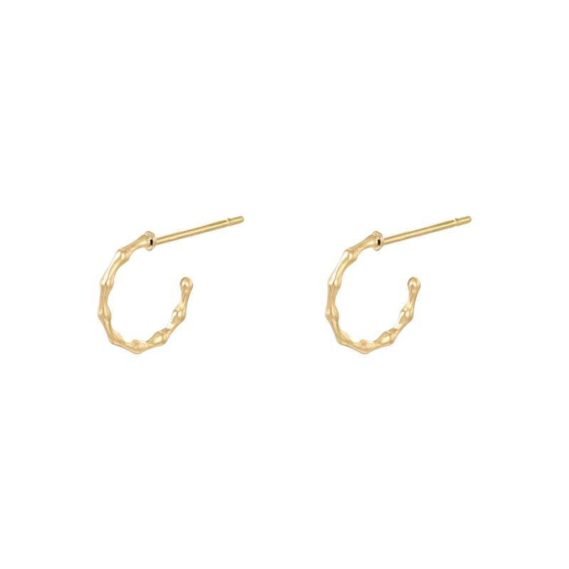 Oorbellen bamboo hoops - goud, zilver
