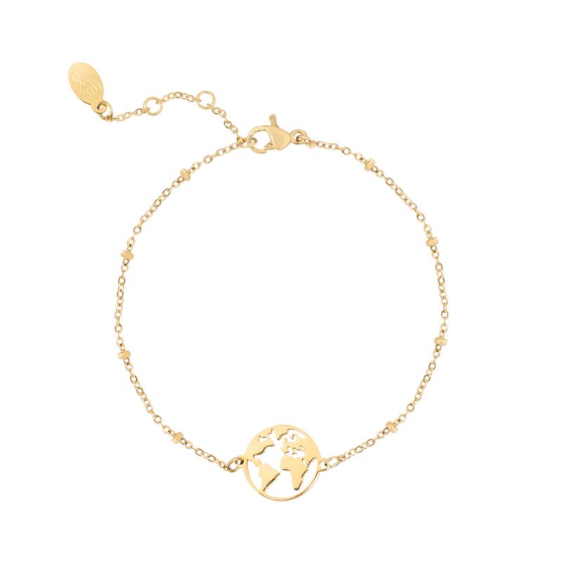 Armbandje beautiful world - goud, zilver