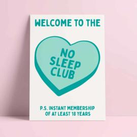 kaart no sleep club blauw