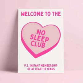 kaart no sleep club roze