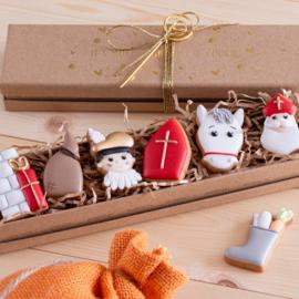Luxe giftset met kleine koekjes thema Sinterklaas