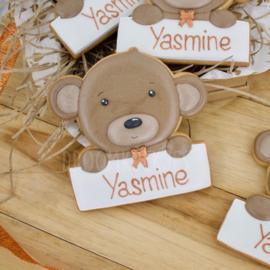 Baby beer met naam (detail kleur keuze)