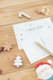 "Los kaartje  ""I wish you a merry and sweet Christmas"""