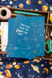 """Los kaartje  """"Dankjewel voor een SPACE-iaal jaar"""""""