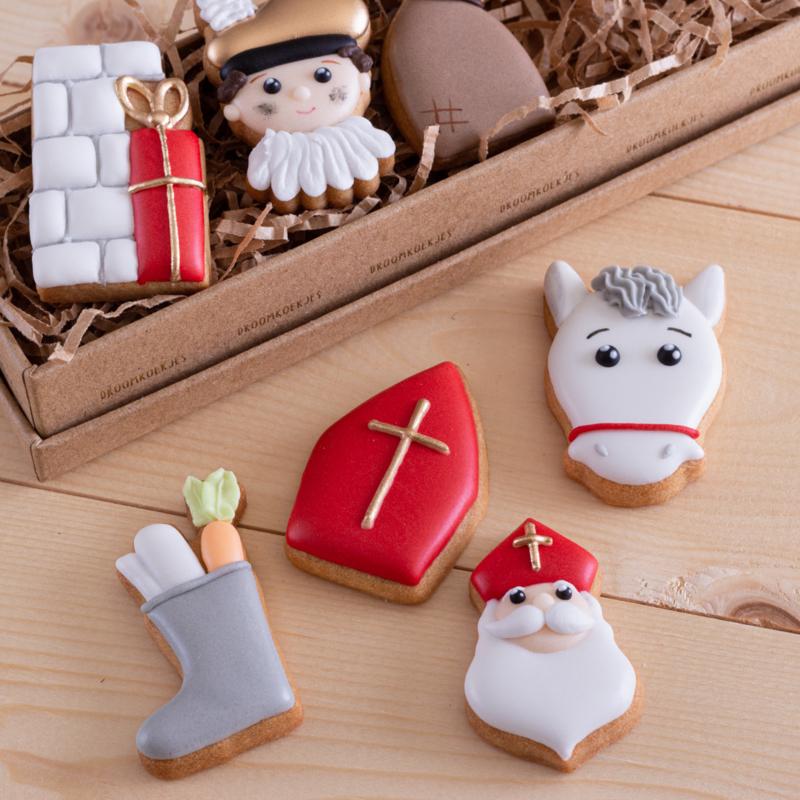 VEGAN - Luxe giftset met kleine koekjes thema Sinterklaas