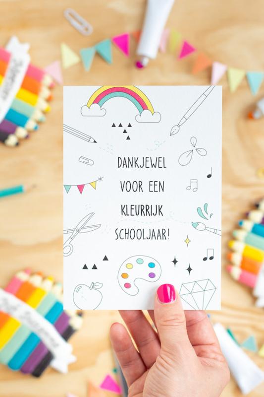 """Los kaartje  """"Dankjewel voor een kleurrijk schooljaar"""""""