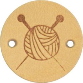 Leren Label Knitting 20mm
