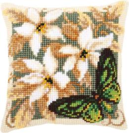 'Groene vlinder & witte bloemen' Vervaco Kussen