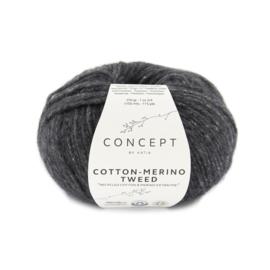 Cotton-Merino Tweed Donkergrijs