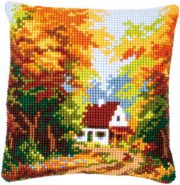 'Huisje in herfstbos' Vervaco Kussen
