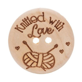 Houten Knoop 'Knitted with love' 25mm