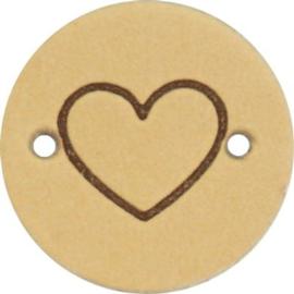 Leren Label Heart 20mm