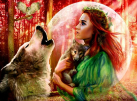 'Green lady & Wolf' Mona Lisa Diamond Painting