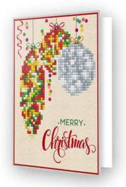 'Merry Christmas Baubles traditional' Diamond Dotz Wenskaart