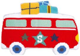 Kruissteekkussen Bedrukt Op vakantie met bus