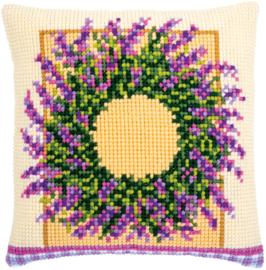 Kruissteekkussen Bedrukt Lavendelkrans